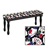 Traditional Farmhouse Style Dining Bench with Black Legs and a Padded Seat Cushion Featuring Your Favorite Novelty Themed Fabric Covered Bench Top (Poker)