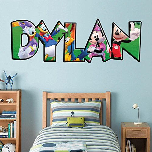Disney Mickey Mouse Giant Wall Decal (Mickey Mouse And Friends PERSONALIZED NAME Decal WALL STICKER Disney Minnie J239, Giant)