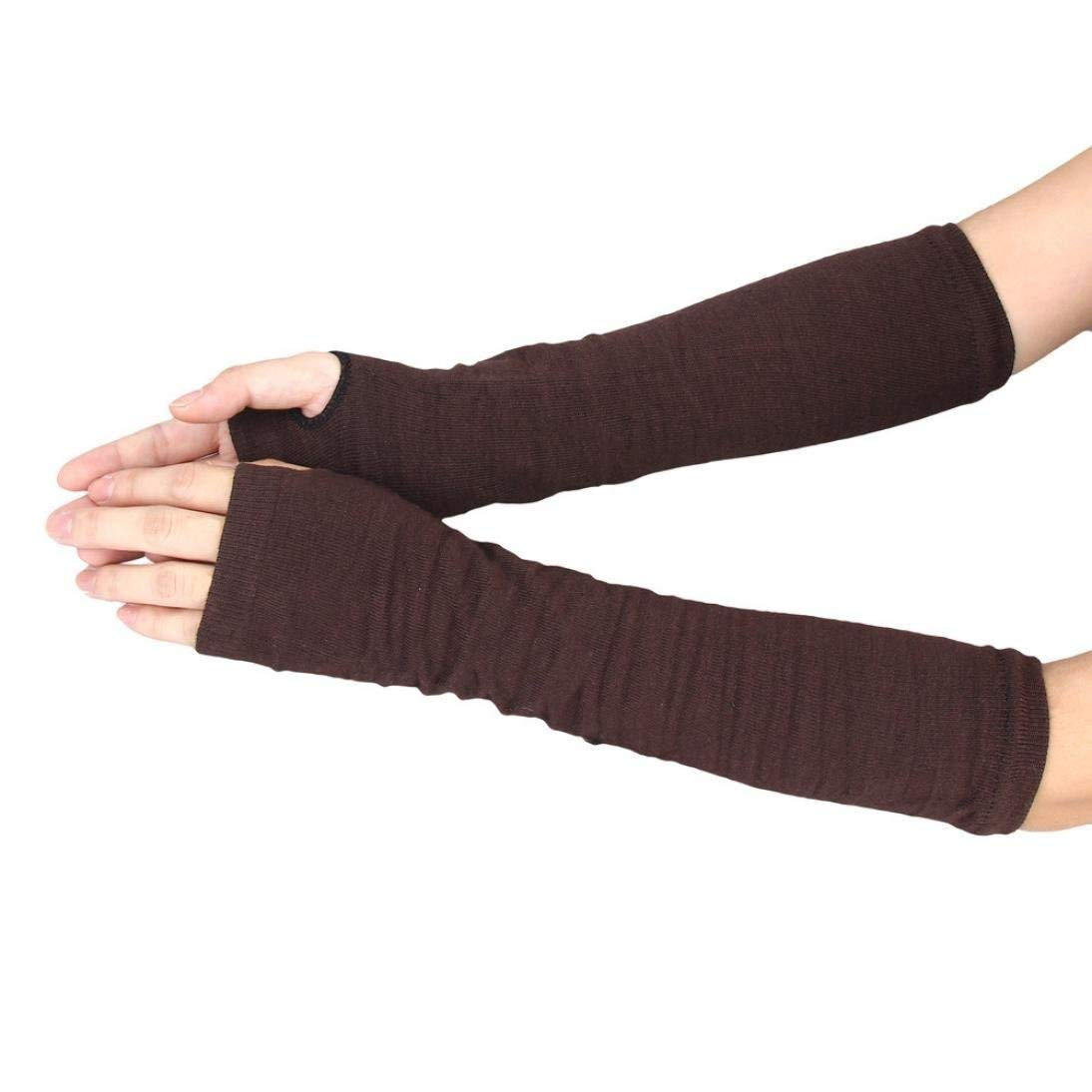 Oudan Ladies Arm Warm Winter Wrist Knitted Hand Warm Arm Young Long Fingerless Gloves (Color : C-Coffee, Size : One Size)