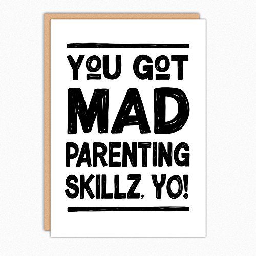 (Funny Fathers Day Card From Us. 143 Mad Parenting Skillz. Funny Dad Card. Folded Greeting Card With Envelope. Blank Inside)