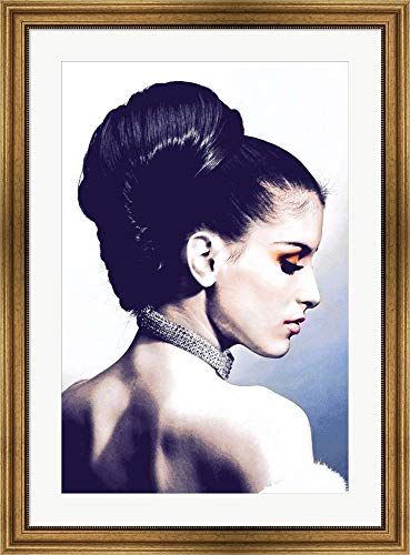 Framed White Gold Necklace - Vintage Fashion Woman with Necklace Blue by Color Me Happy Framed Art Print Wall Picture, Wide Gold Frame, 28 x 38 inches