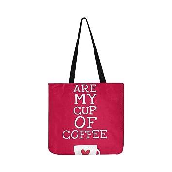 You My Cup Coffee Quote Tote de lona Bolso Bandolera Bolsos ...