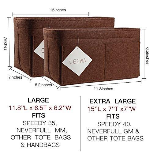 83e076a3ef08 CEEWA Felt Purse Organizer -Multi Pocket Bag in Bag Organizer fit Tote    Handbag Shaper fits Speedy 35 and Speedy 40 ( Large  Amazon.in  Clothing    ...