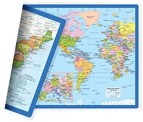 Map Double Sided - Classic United States USA and World Desk Map, 2-Sided Print, 2-Sided Sealed Lamination, Small Poster Size 11.5 x 17.5 inches (1 Desk Map)