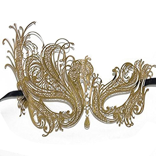 [Signstek Metal Laser Cut Filigree Masquerade Venetian Party Mask Black (Rose Gold/Clear Stones)] (Masquerade Masks Metal)