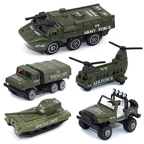 (Army Vehicle Toy Set Diecast Military Model Cars Metal Army Playset Helicopter Tank Truck Jeep Armored Car for Kids - 5 Pieces)