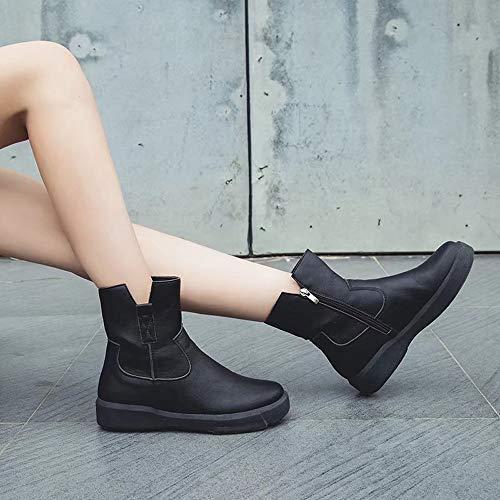 Bottines Plat Femmes Alikeey Goodyear En Bottes Demi Martin Fermeture Cuir Chaussures Dcontractes Noir clair Sparco tube Zipper Faible nSFq7wF