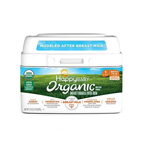 Happy Baby Organic Stage 1 Infant Formula Milk Based Powder with Iron, 21 Ounce Organic Formula Dual Prebiotics, Milk Based Powder, Non-GMO Gluten Free, No Corn Syrup Solids