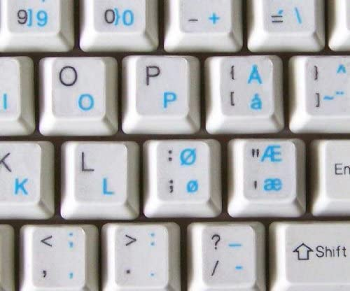 NORWEGIAN KEYBOARD STICKER WITH BLUE LETTERING ON TRANSPARENT BACKGROUND
