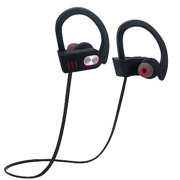 Inalámbrico Sport auriculares de diadema, ligera IPX4 con ganchos de oreja de silicona Bluetooth auriculares