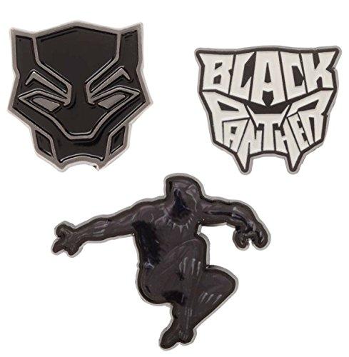 Main Street 24/7 Black Panther Set of 3 Metal Enamel Logo Pins