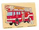 : Wooden Fire Truck 9-piece Peg Puzzle