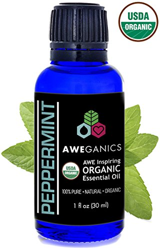Aweganics Organic Peppermint Essential Oil, USDA Certified Organic, 100% Pure Natural Therapeutic-Grade, Best Aromatherapy Scented-Oils for Diffuser, Home, Personal Use, Relaxation 1 OZ MSRP $19.99 (Peppermint Shampoo Scented)