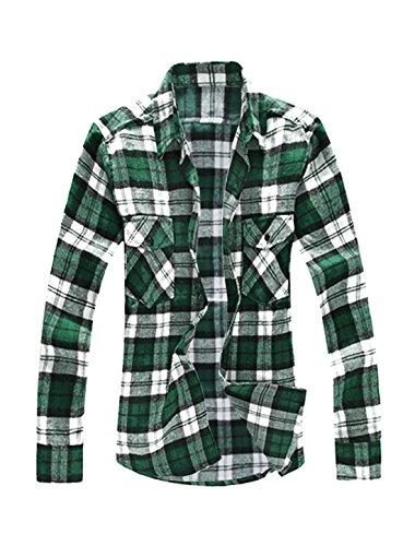 Allegra K Men Big and Tall Plaid Flannel Shirt Green XL