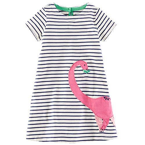 Frogwill Girls Green Dinosaur Tunic Short Sleeve Summer Casual Dress 2-7T (4T, Stripe) ()