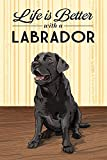 Black Lab - Life is Better (9x12 Art Print, Wall Decor Travel Poster)