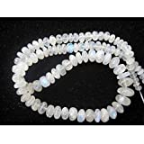 8 Inch Half Strand/50 Pieces Approx/White Rainbow Moonstone Rondelle Beads/4-12mm Beads