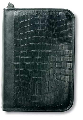 Alligator Leather-Look Organizer Black LG Book and Bible Cover