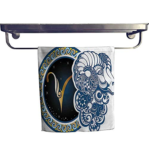 HoBeauty home Pool Gym Towels,Astrological Aries Symbol with Horned Head Ram Goat Terrestrial Event Image Blue Gold,Good Ideal for The Kid's Room, a Guest Room W 14