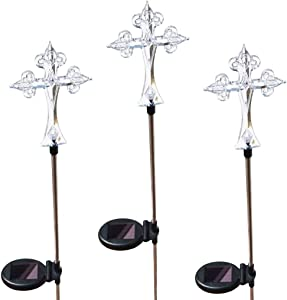 Affordable Solar Cross Lights, 3 Stakes a Set, Multi-Color Changing LED Solar Lights