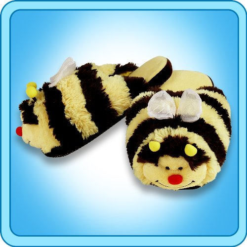 Pillow Pets Bumble Bee Slippers - Kids Soft Chenille Plush Animal Slippers - Small (Best Selling Pillow Pets)