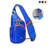 Shoulder Sling Bag for Men Women Waterproof Crossbody Backpack for Hiking Travel One Strap Backpack Chest Bag with Adjustable Shoulder Strap & Anti-Theft Pocket (Blue)