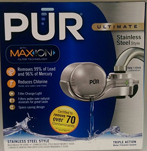 PUR FM-9000B Faucet Mount Water Filter - Stainless Steel Style