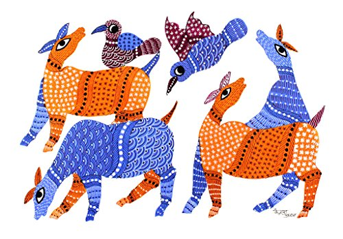 IMI 100% Hand Painted Gond Art Painting for Wall Décor on Handmade Paper, 14 X 10 Inches, Birds Playing Buffaloes)
