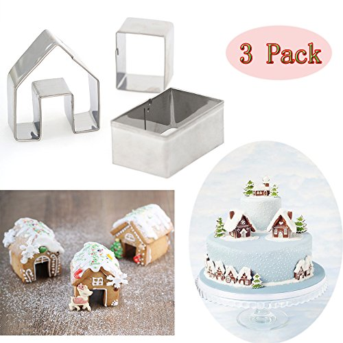 (Set of 3) Gingerbread House Cookie Cutter Set,Bake Your Own Small Gingerbread House Kit, Little Cookie Christmas House Baking Mould