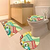 Miki Da Non Slip Bathroom Rugs Bingo Game with Ball and Cards Pop Art Stylized Lottery Hobby Celebration Theme Absorbent Cover