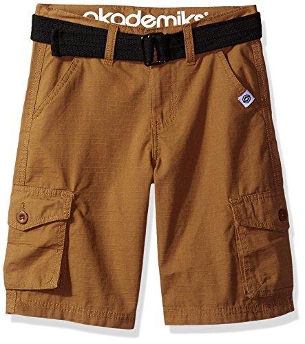 Akademiks Kids Big Boys' Rip Stop Cargo Short W/Belt, Dark Khaki, 14