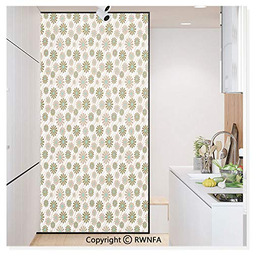 (Window Glass Sticker Door Mural Flowers on Tiger Wild Animal Skin Lines Stripes Simple Fun Designed Artwork Static Cling Privacy No Glue Film Home Decorative 11.8x59.8inch,Brown Green)
