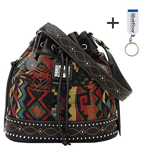 American West Bandana Drawstring Bucket Shoulder Handbag