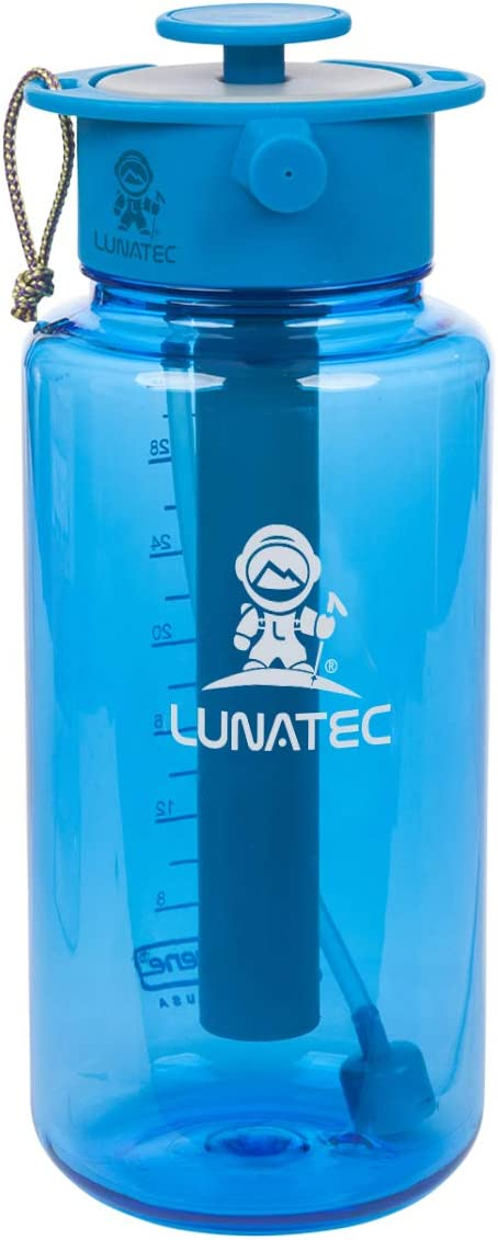 Lunatec Aquabot sport water bottle - a pressurized mister, camp shower and hydration in one. Portable running water for your pocket. BPA free.