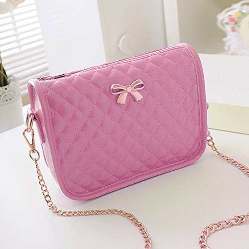 Women Clutch Bag Synthetic Bow Leather Bag Handbag Cute Cross Shoulder Casual Yiilove Pink Bag FaqURUA
