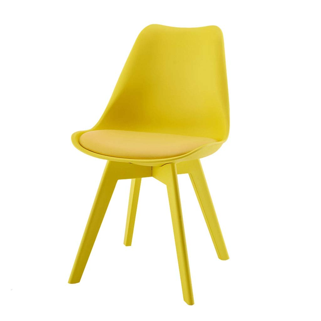 Yellow YXYH Nordic Plastic Tulip Dining Chair color Leisure Stool for Office Lounge Dining Kitchen Can Bear 150kg (color   Red)