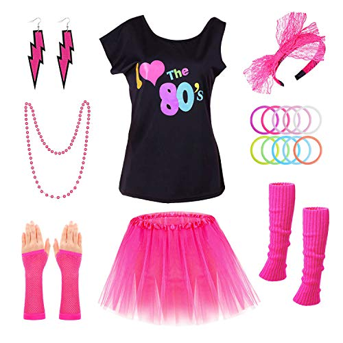 Cute Ladies Halloween Costume Ideas (PAXCOO 80s Costumes for Women, 80s Accessories for Women with I Love The 80s T-Shirt Tutu Skirt Headband Necklace Bracelet Leg Warmers Earrings Fishnet Gloves for Party Accessory (M Size))