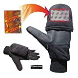 Heat Factory Gloves with Pop-Top Mittens, with Hand Heat Warmer Pockets, Black, Medium
