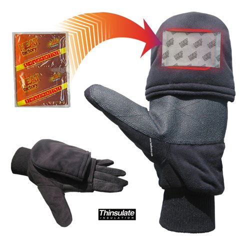 with Pop-Top Mittens, with Hand Heat Warmer Pockets, Black, X-Large (Grabber Heated Glove)