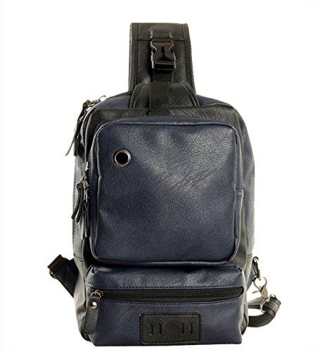 Genda 2Archer PU de los Hombres de Cuero Multifunción Mochila, Bolso del Pecho, Bolso de Hombro (Marrón oscuro) Azul oscuro