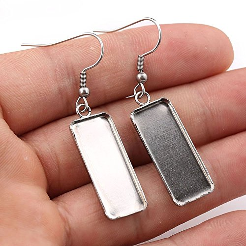 Plated Rectangle cabochon Earring Base Settings 10x25mm Dia Blank Stainless Steel Earrings Bezel Trays 10pairs (Steel)