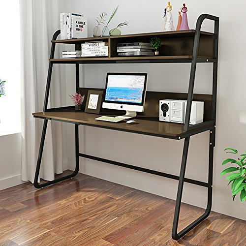 Triblesigns Computer Desk With Hutch Modern Metal Frame Writing Table Workstation Ladder Desks Bookshelf For Home Office Teak