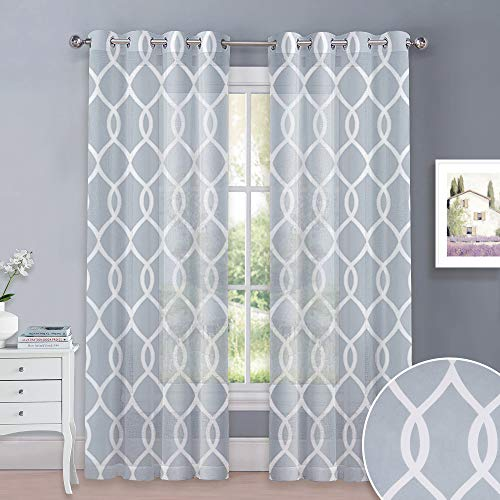 KGORGE Faux Linen Patterned Curtains - Moroccan Trellis Design Grommet Top Translucent Printed Sheer Curtain Sets for Patio Glass Door, Sold by 2 Pieces, 52