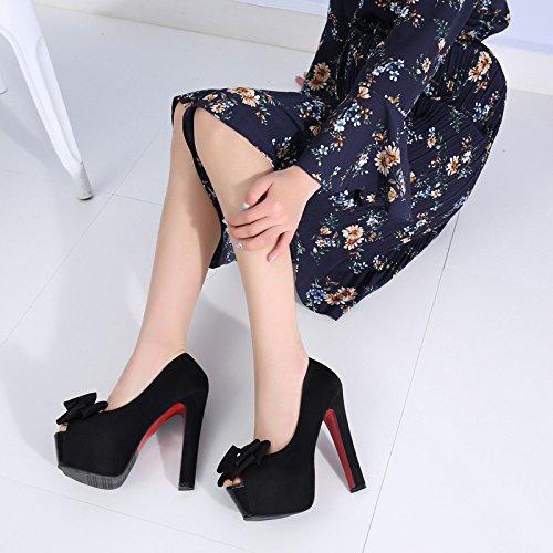 Primavera Tacon Seis De Mujer Y De High De MesaBlackTreinta Zapatos Zapatos KHSKX Primavera Pescado De De De Estilo Nuevo El Y Impermeable Boca Super Estilo Mujer Pajarita Heels H6pqxOE