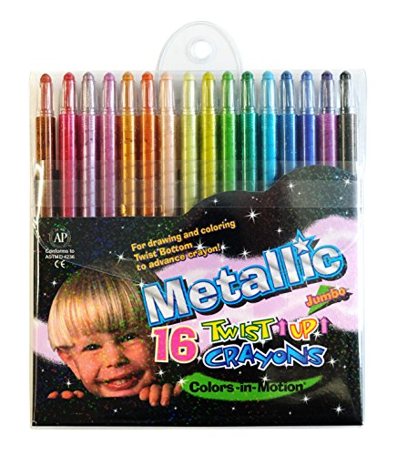 16 Metallic Twist-up Colors-in-Motion Crayons, Colored Pencils, Kids Crayon, Adult Coloring, Professional Drawing (7 in length) ()