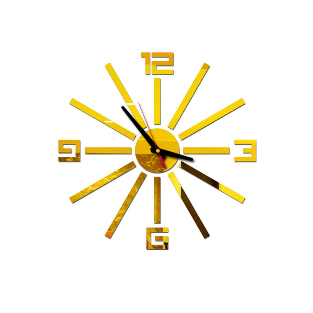 Pet1997 Large 3D DIY Acrylic Wall Clock, Modern Roman Numbers Wall Clock with Acrylic Mirror Wall Stickers Clock Home Decor Mural Decals for Home Office Decorations Gift (Gold)
