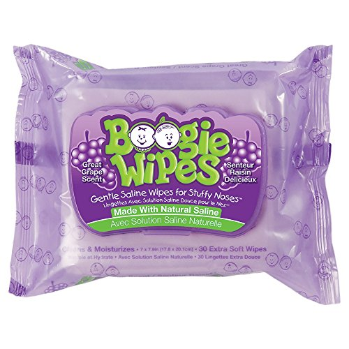 (Boogie Gentle Saline Wipes for Little Noses, Great Grape 30 Each (Pack of 2))
