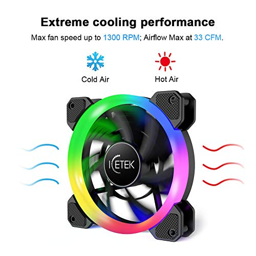 ICETEK RGB Case Fans 120mm, LED PC Fan Adjustable Colorful Computer Case  Fan RGB Cooling Cooler, 366 Modes with Controller and Remote, Reinforced