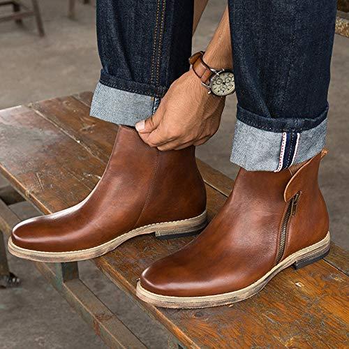 Stivali Brogue Classico Vintage Stivali Sicurezza Matrimonio Uomo Martin Chelsea Utensili Boots Moda Brown1 Pelle Casual snfgoij p8wqv0Yx