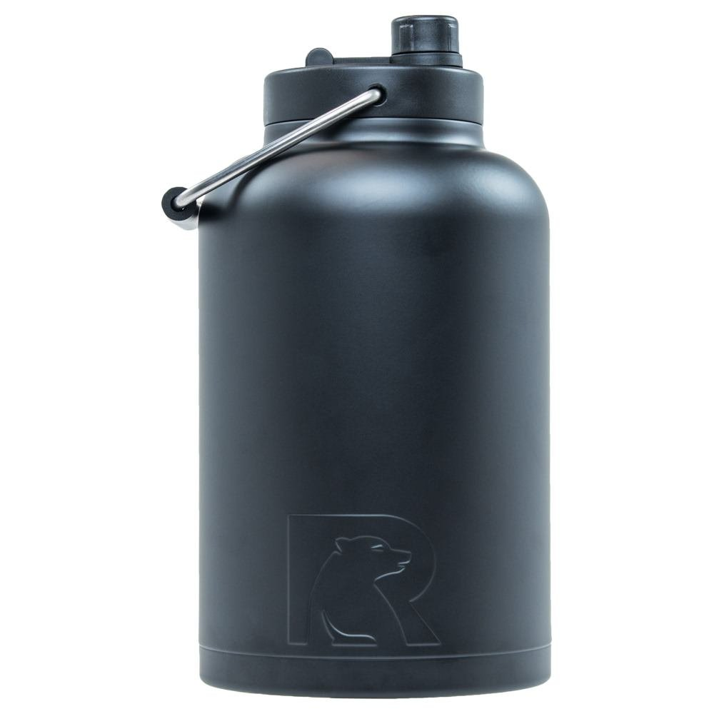RTIC Double Wall Vacuum Insulated Stainless Steel Jug (Black, One Gallon)